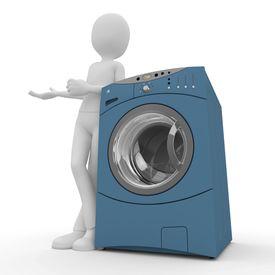 stock photo of washing machine  - 3d man with washing machine isolated on white - JPG