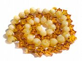Amber jewel necklace isolated