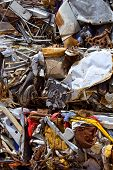 iron scrap metal compacted to recycle green process ecology industry