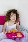 awakening bed breakfast brunette children girl messy hair
