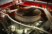 foto of muscle-car  - Powerful Vintage Muscle Car Engine Under The Hood - JPG