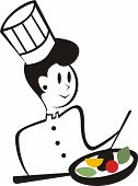 Cute woman chef healthy skillet cooking