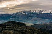 Mountain Ridge With Snowy Peak On Gloomy Day poster