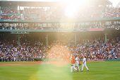 Boston - May 30: Starting Pitcher Jon Lester And Catcher Jarrod Saltalamacchia Make Their Way To The
