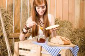 Redhead Hippie Woman Have Breakfast In Barn