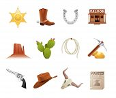 stock photo of wild west  - Set of 12 icons from the American Old West - JPG