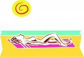 foto of nudism  - a naked woman sunbathing on the beach - JPG
