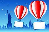 Hot Air Ballon On New York