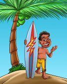 stock photo of youg  - youg black boy with a surf board near a palm tree - JPG