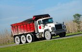 picture of dump-truck  - Construction industry truck carrying heavy load to job site - JPG