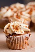 Photo of tasty cupcake in bakery