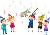 stock photo of pinata  - Illustration of Kids Playing Pinata - JPG