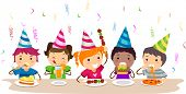 Illustration of Kids Having a Food Party