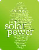 Ilustración de nube de palabra de energía solar. Colección gráfica de la etiqueta
