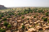 pic of dogon  - A panorama of Dogon tribe village Songo in Mali - JPG