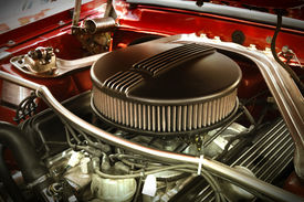 picture of muscle-car  - Powerful Vintage Muscle Car Engine Under The Hood - JPG