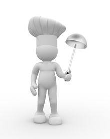 stock photo of recipe card  - Cook with a ladle in hand  - JPG