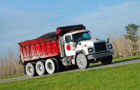 picture of dump_truck  - Construction industry truck carrying heavy load to job site - JPG