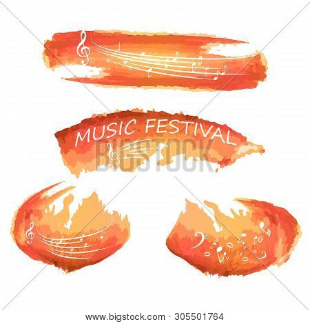poster of Music Notes On Paint. Music Festival, Music, Sign. Isolated On White.music Colorful Background With