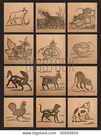 Постер, плакат: Винтажные бумага 12 знаков китайского зодиака, холст на подрамнике