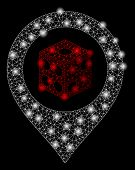 Bright Mesh Dice Map Pointer With Lightspot Effect. Abstract Illuminated Model Of Dice Map Pointer I poster