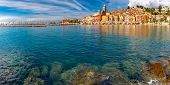 Panoramic View Of Colorful Old Town And Beach In Sunny Menton, Perle De La France, On French Riviera poster