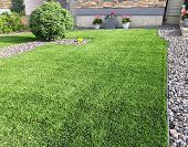 A Beautiful Artificial Lawn In The Front Yard With Nice Flowers And Shrubs Surrounding It poster