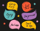 Creative Textured Speech-bubbles With Phrases On Black Background. Slogan Stylized. Sketch Quotes An poster