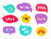 Funny Colorful Speech Bubbles With Words. Slogan Stylized Typography. Sketch Quotes And Phrases Coll poster