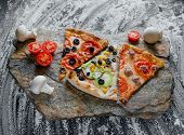 Slices Of Different Pizza, Pepperoni, Decorated With Sliced Tomatoes And Mushrooms, Sliced Peppers,  poster