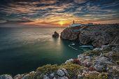 São Vicente Cape Lighthouse At Sunset In Sagres Algarve Portugal poster