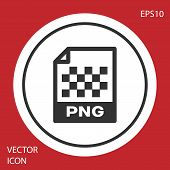 Grey Png File Document Icon. Download Png Button Icon Isolated On Red Background. Png File Symbol. W poster