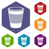 Domestic Bin Icon. Simple Illustration Of Domestic Bin Vector Icon For Web poster