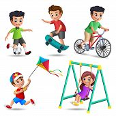 Kids Playing Vector Characters Set. Young Boys And Girls Happy Playing Outdoor Activities And Sports poster