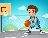 Kid Playing Basketball Vector Character. Young School Boy Wearing Basketball Uniform In Basketball C poster