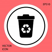 Black Recycle Bin With Recycle Symbol Icon Isolated On Red Background. Trash Can Icon. Garbage Bin S poster