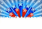 Halftone Vector Background With Stars. American Patriotic Backgrounds With Stars And Balloons. Usa P poster