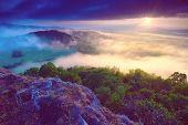 Dreamy Forrest. Sunrise Clouds. Forest Hill.autumn Mist. Misty Peaks. Foggy Landscape. Rock Top poster
