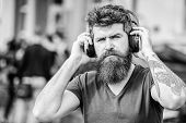 Hipster Enjoy Excellent Sound Song In Earphones. Excellent Music Playlist. Walking With Music. Music poster