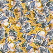 Australian fifty dollar notes make a full-frame wallpaper.