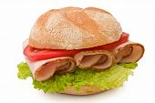 Delicious Kaiser Roll With Turkey Breast, Lettuce And Tomatoes
