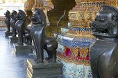 Lion statures in Grand Palace in Bangkok, Thailand