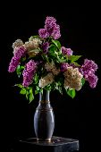 White And Purple Branches Of Lilac In Vase On Black Background. Spring Branch Of Blooming Lilac On T poster