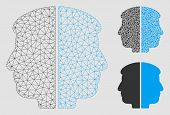 Mesh Dual Face Model With Triangle Mosaic Icon. Wire Frame Polygonal Mesh Of Dual Face. Vector Compo poster