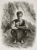 Kanak crouched (New Caledonia native). Created by Neuville after photo of unknown author, published on Le Tour Du Monde, Paris, 1867