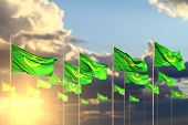 Beautiful Many Mauritania Flags On Sunset Placed In Row With Soft Focus And Place For Content - Any  poster