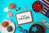 Happy Independence Day, 4th Of July Celebration Concept With Frame, Cupcakes And Barbeque Grill  On  poster