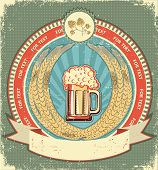Beer Symbol Of  Label.vintage Background With Scroll For Text On Old Paper