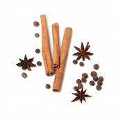 Black Peppercorns, Anise Stars And Cinnamon Sticks