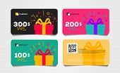 Shopping Gift Cards Template Set With Gift Box And Dollar Numbers Vector Illustration, Voucher Layou poster